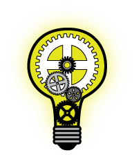 illuminated lightbulb with gears inside