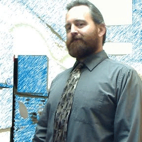 Jayme Johnson in a green shirt and tie, against a stylized background.