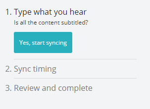 The Amara workflow of three steps: 1. Type what you hear, 2. Sync timing, 3. Review and complete.