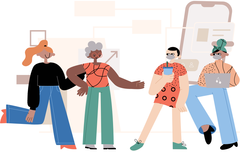 illustration of four people who are happy to be finished with this PDF accessibility lesson.
