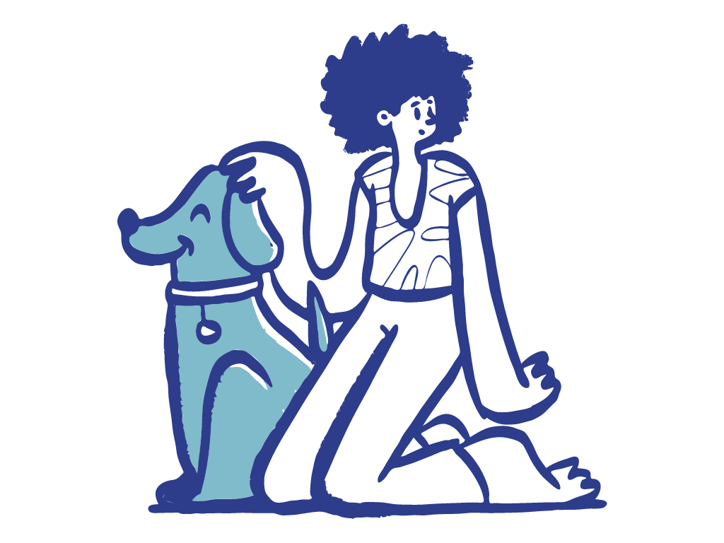 figure petting a dog
