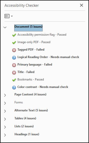 Accessibility Checker results.