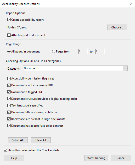 Accessibility Checker Options from Acrobat Pro