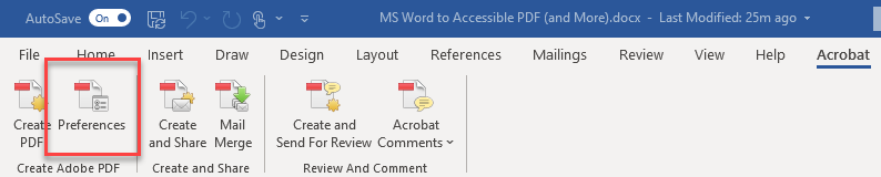 Acrobat toolbar with Preferences option highlighted.