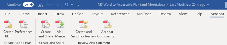 Acrobat toolbar for MS Word.