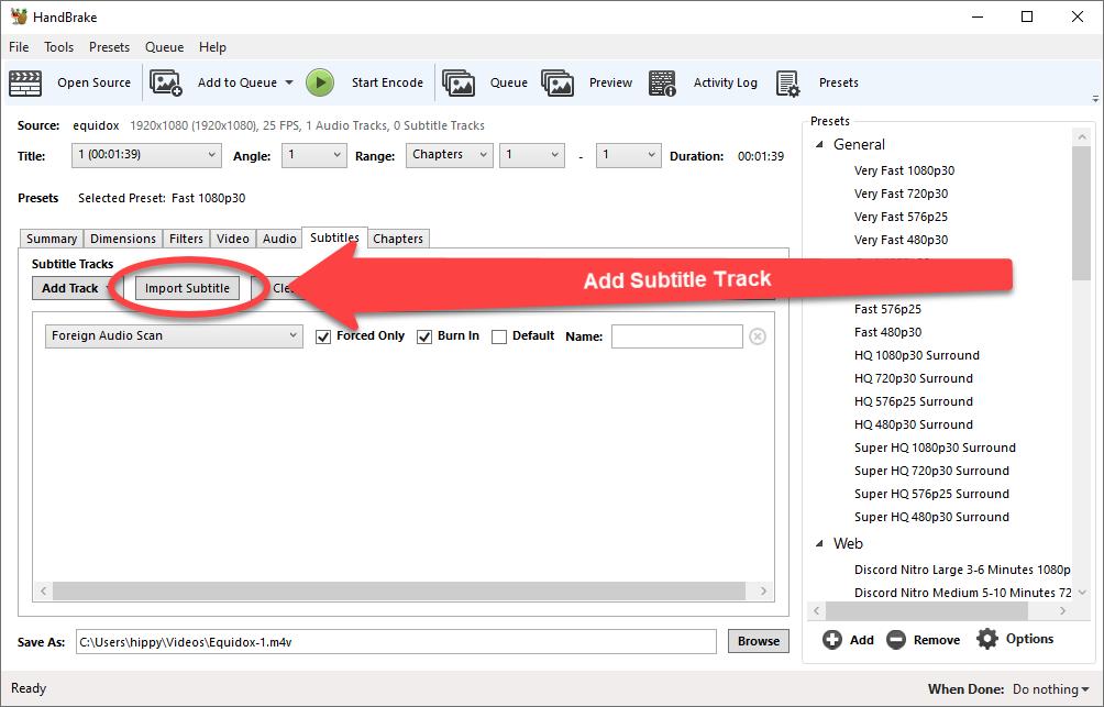 Import Subtitles button highlighted in Handbrake Application.