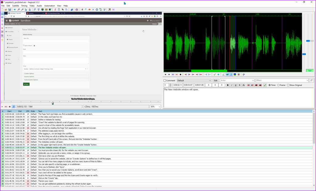 Aegisub with subtitles and video file loaded.