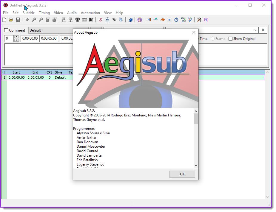 Aegisub startup window.