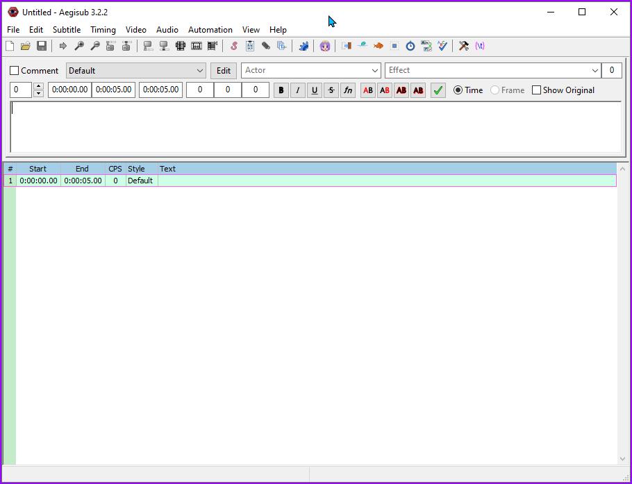 Aegisub application window immediately after opening.