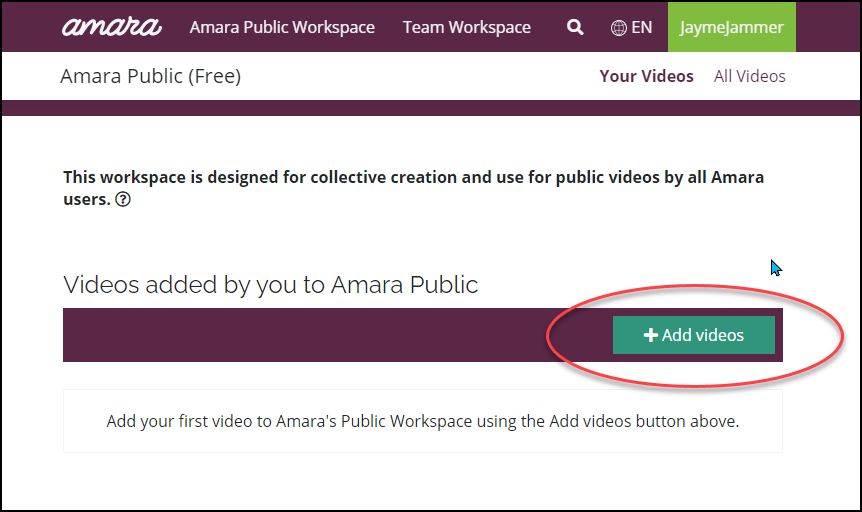 Amara start screed with Add Videos button highlighted.