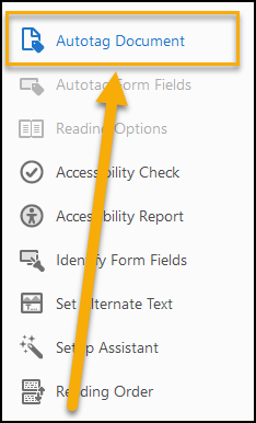 Autotag Document option from Accessibility Tools.