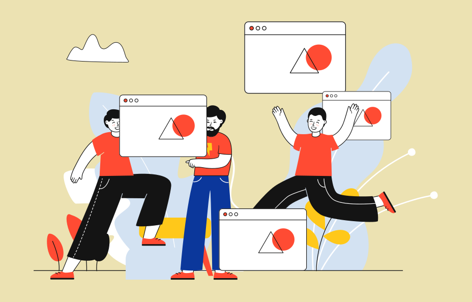illustration of three characters apparently celebrating  the same design appearing on 4 different screens.
