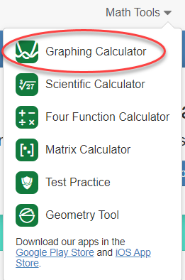 Desmos' math tools, with Graphing Calculator highlighted.