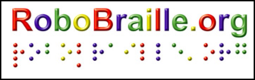 Logo: RoboBraille.org in print and Braille, individual characters colored red, blue, green, and yellow.