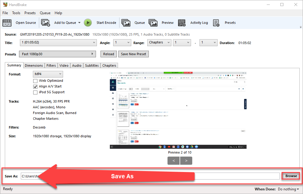 Handbrake application window with the Save As feature highlighted.