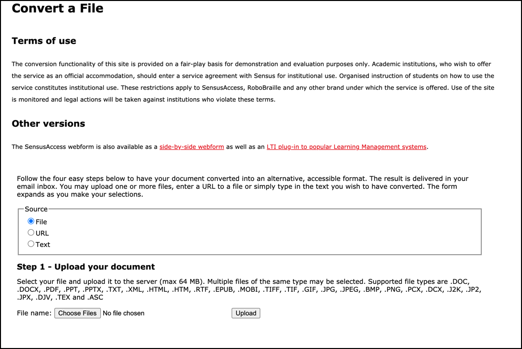 """Screen capture of SensusAccess input form with Step 1, """"Upload your document"""" of the conversion process."""