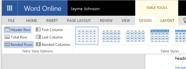 Table Tools for defining Header Rows in MS Word